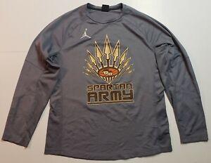 Jordan Spartan Army Athletic Shirt Long Sleeve Grey Mens Size Large