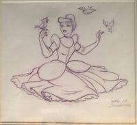 Disney: Cinderella With Birds Original Color Pencil Drawing Signed by John Adams
