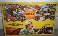 SHELL OIL/PETROL EMBOSSED 3D METAL ADVERTISING SIGN 30x20cm,  USA LICENCE plates