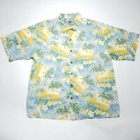 Tommy Bahama Palm Tree Print Short Sleeve Hawaiian Silk Shirt Men's Size Large L