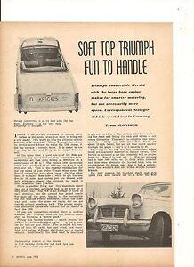 ORIGINAL VINTAGE 1962 AUSTRALIAN 3 PGE FEATURE ON THE TRIUMPH HERALD CONVERTIBLE
