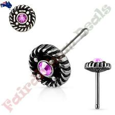 Pink Gem Rope Edge Centre Top Surgical Steel Antique Silver Nose Stud With