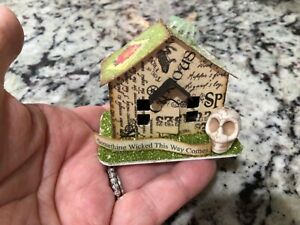 MINIATURE HALLOWEEN HOUSE Tim Holtz Paper Village DECOR ORNAMENT #213 OOAK
