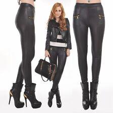Women Sexy PU Leather Look Leggings Zipper Stretch legging Skinny Slim leggings