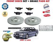 FOR FORD SIERRA 2.0 16V 4X4 COSWORTH 1990-1993 FRONT BRAKE DISCS SET + PADS KIT