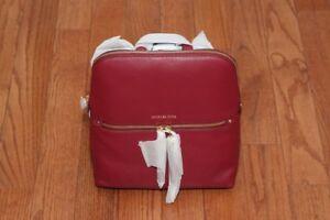 NWT Michael Kors Rhea Slim Medium Leather Backpack Handbag Mulberry