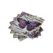 Beautifully Decorated Lavender Butterfly Glass Coasters Set of 4 and Boxed