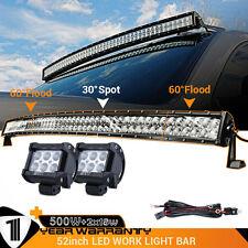 2x 18W + 52INCH 500W Flood Spot Curved Led Work Light Bar + 3M Wiring Harness