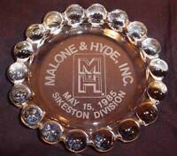 VTG ANCHOR HOCKING BOOPIE ETCHED GLASS ADVERTISING CIGAR ASHTRAY MALONE & HYDE