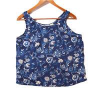 Victoria's Secret Women's Blue 100% Silk Paisley Floral Tank Top Size Small