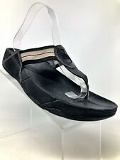 FitFlop Walkstar 1906 Black Gray Stripe Fabric Sandals Women 8