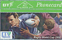 ITV SPORT - RUGBY WORLD CUP 1991 PHONECARD