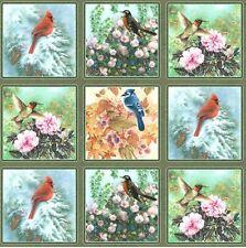 Canciones De La Temporada aves Panel - 28 Paneles Algodón Acolchado fabric-60cm X 110 Cm