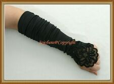 Satin BLACK FINGERLESS Bridal Wedding/Prom/Gothic Fancy GLOVE,Lace pearls sequin