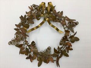Vtg Petites Choses Brass Butterfly Wreath Dresden Style 41 Butterflies/Dragonfly