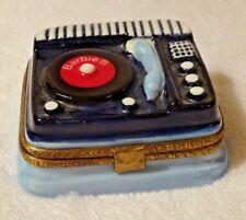 Limoges France Porcelain Mattel Barbie Record Player w/ Record Trinket Gift Box