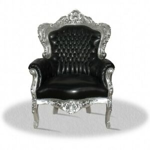Barocksessel schwarz silber Kunstleder Thron black luxus design King Königsstuhl