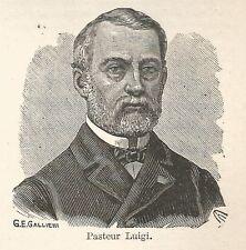 A7487 Luigi Pasteur - Stampa Antica del 1929 - Xilografia