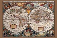 17th Century Mapa Mundial: tinta de oro-Maxi Póster de 91.5cm X 61cm (nuevo Y Sellado)