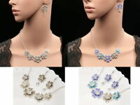 crystal flowers enamel silver plated charm choker necklace drop earrings set N35