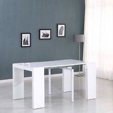 High Gloss White Multi-Function Extending Dining Table Console 45-250cm