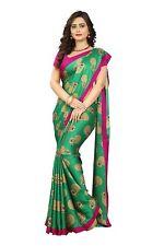 Green Peacock Printed Saree Kalamkari Crepe Silk Designer Sari