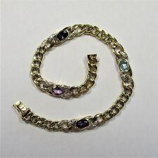 147 - Stilvolles Armband aus Gelbgold 750 mit Amethyst Topas Diamant - G7