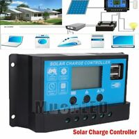 30-100A Solar Charge Dual USB Controller Panel Battery Regulator 12/24V Auto