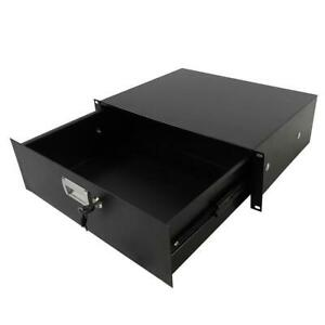 "New 19"" Rack Mount 3U Steel Plate DJ Drawer Equipment Cabinet Locking Lockable"