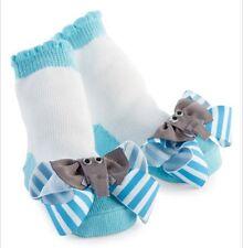 0-12 mons Socks Blue and White Stripe & Elephant Stripe Bow Socks Infant NWT