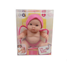 "JC Toys LOTS TO LOVE 8"" BABIES PINK W/ OPEN MOUTH Bath Time Brown Eyes 16822B"