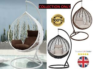 Garden Egg Chair Hanging Swing Cocoon Outdoor patio white/black/br Rattan style