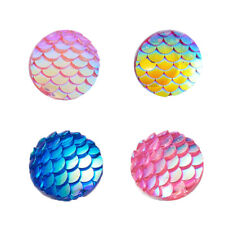 10pcs Flat Back Resin Cabochons Flat Round AB Colour Mermaid Fish Scale 12mm