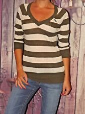 Abercrombie & Fitch small sweater lightweight v neck striped green white