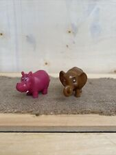 2001 Doley Noah's Ark Animals PVC Figures 2pc Lot Elephant~Hippo Bible Toys