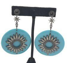 Gunmetal Silver 925 Chunky Round Turquoise CZ Flower Star Burst Drop Earrings