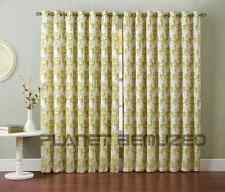 PAIR OF FAUX SILK FLOCKED DAMASK EYELET READY MADE LINED CURTAINS + TIE-BACKS