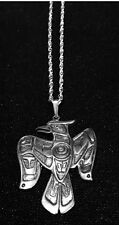 "Northwest Coast Native ""JAY"" STERLING SILVER PENDANT NECKLACE"