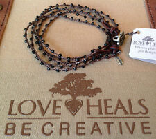 "Love Heals Be Creative 41"" Black Spinel Braided Necklace/Wrap Bracelet  Ret $179"