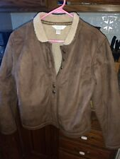 Women's large Faux brown Suede Coat-Christopher & Banks