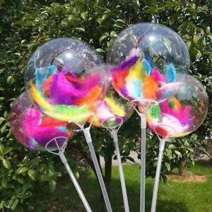 Clear Balloon Stuffed Bright Rainbow Feathers 18'' Birthday Decor Girl Boy x1