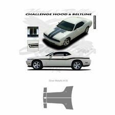 Dodge Challenger 2010 to 2011 Hood Stripes Graphic Kit - Metallic Silver