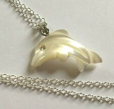 "Mother of Pearl Shell Dolphin on Silver Plated 19.5""  Chain"