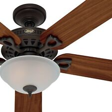 """Hunter 52"""" Ceiling Fan with Light and Frosted Seeded Glass in New Bronze"""