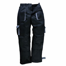 Portwest TX11 Texo Contraste Pantalones Ropa de Trabajo Cintura Elástica