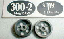 1 pair  5 Hole Magnesium Wheels by MILA MIGLIA #300-2 1960's 1/32 slot car NOS