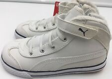 Boys Puma 917 L Mid Infant trainer UK size 9 white leather hi-top velcro 80cffd82706
