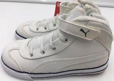 Boys Puma 917 L Mid Infant trainer  UK size 9 white leather hi-top velcro White