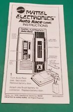 1976 Mattel AUTO RACE Electronic Handheld Arcade Video Game Reproduction Booklet