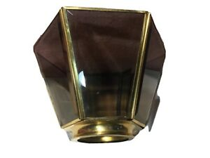 Amber Beveled Glass / Brass Lamp Shade Ceiling Fan 6-Sided